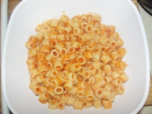 4 Sons 'R' Us: Homemade Spaghettios in a square white bowl