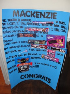 Graduation Candy-gram: candy gram- blue poster with words and candy bars on it