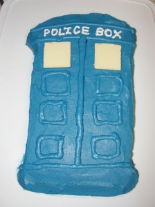 4 Sons 'R' Us: Doctor Who, Tardis Cake- a cake frosted to look like a blue police call box