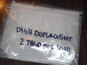 4 Sons 'R' Us: Homemade Dish Detergent in a ziplocked bag with name and directions for use written on it