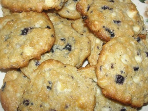 4 Sons 'R' Us: Blueberry Cheesecake And White Chocolate Chip Cookies layered on a white plate