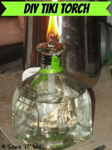 4 Sons 'R' Us: DIY Tiki Torch made out of an old Patron tequila bottle shown lit up