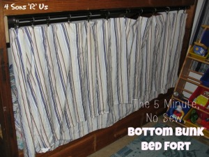 4 Sons 'R' Us: The 5 Minute No Sew Bottom Bunk Bed Fort- a striped curtain drawn on a tension rod across a wooden twin bunk bed