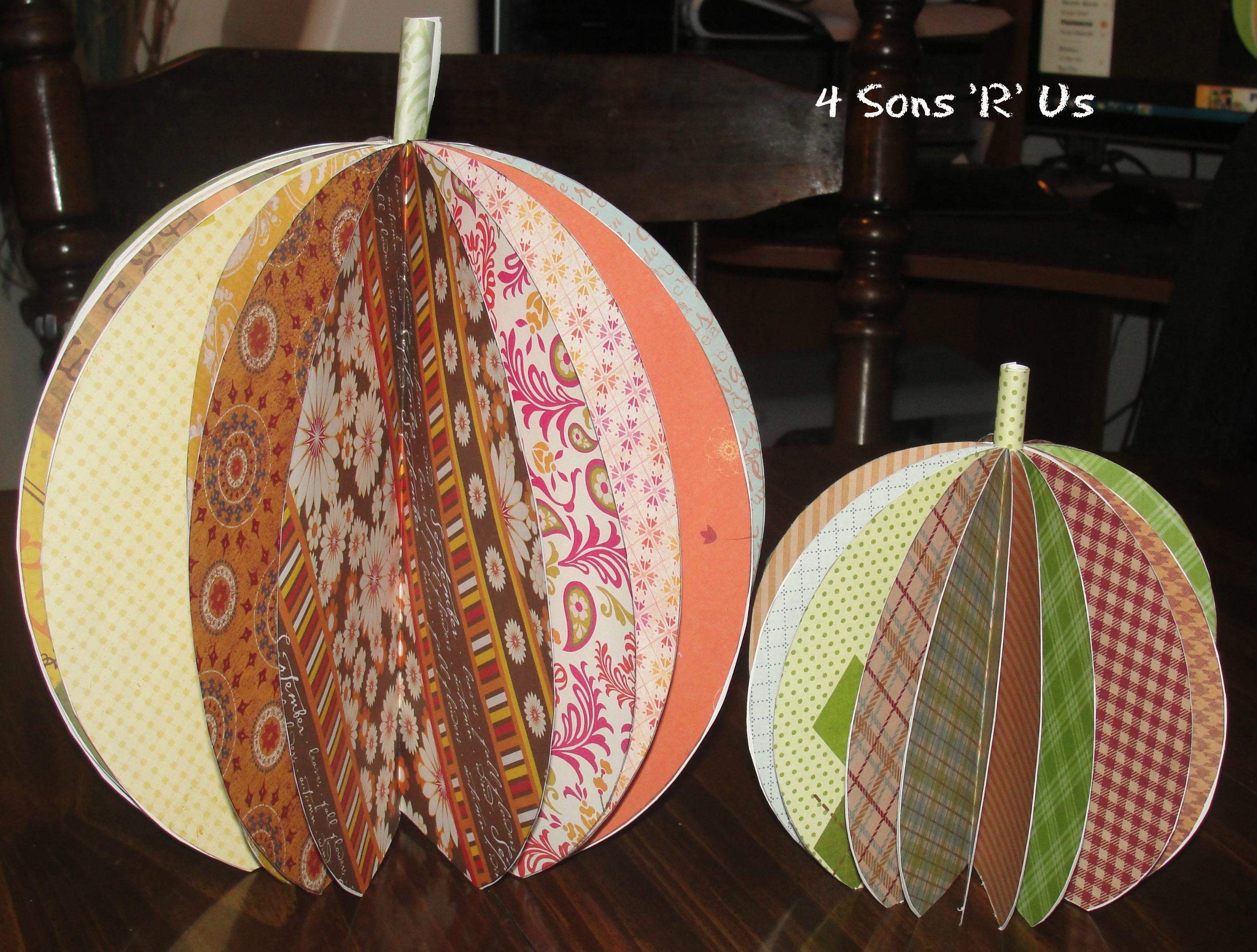 Scrapbook paper pumpkin centerpiece tutorial 4 sons r us 4 sons r us scrapbook paper pumpkin mightylinksfo