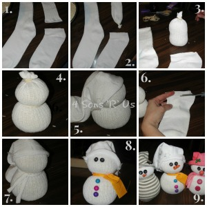4 Sons 'R' Us: sock snowman photo tutorial