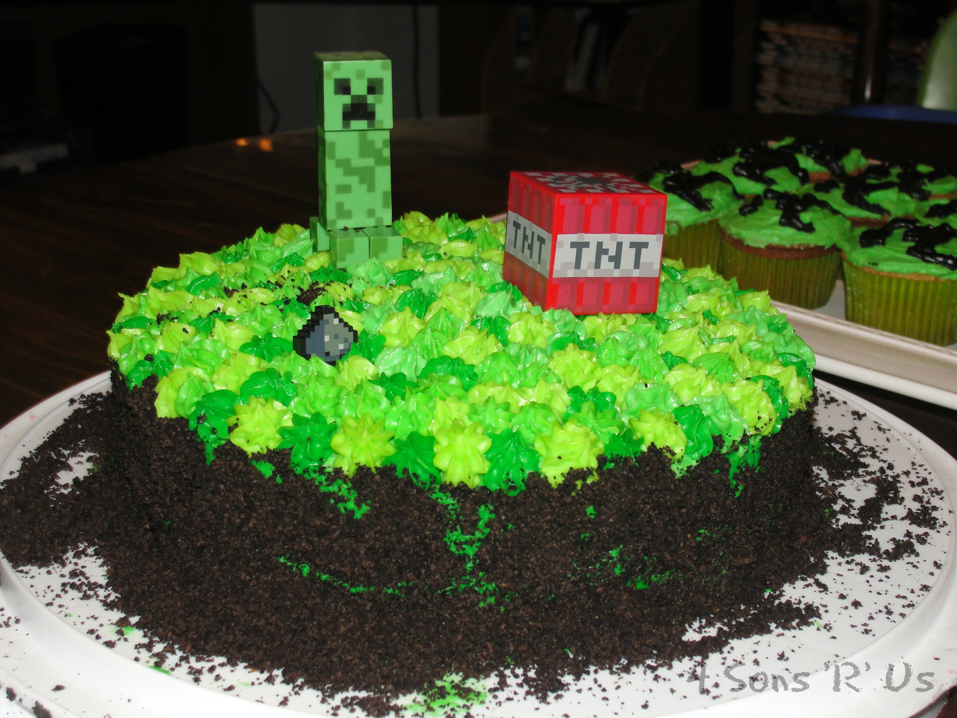 Decorating Ideas > Our Minecraft Birthday Party  4 Sons R Us ~ 024119_Cake Decorating Ideas Minecraft