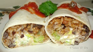 Spicy Rice & Bean Burritos