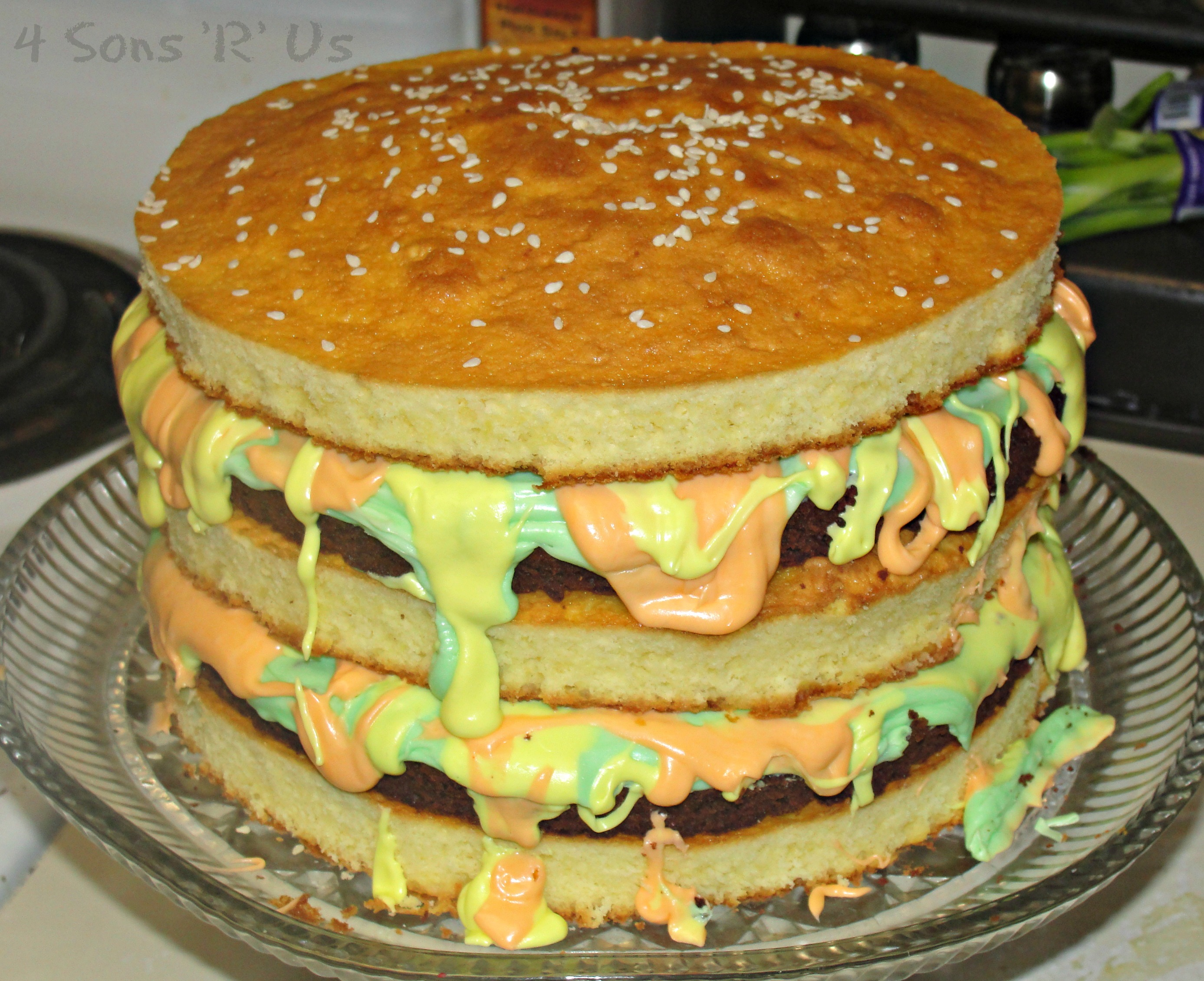 Swell How To Make A Big Mac Burger Birthday Cake 4 Sons R Us Funny Birthday Cards Online Aeocydamsfinfo