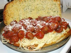 Spaghetti & Meatball Sub Sandwich