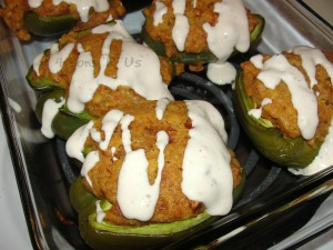 Cornbread & Chicken Stuffed Peppers with a Spicy Ranch Drizzle