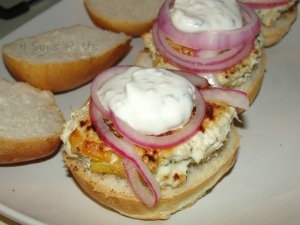 Greek Chicken Burger Sliders with pickled red onions and a lemonmint yogurt dressing 2