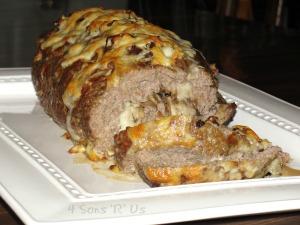 French Onion Soup Stuffed Au Gratin Meatloaf