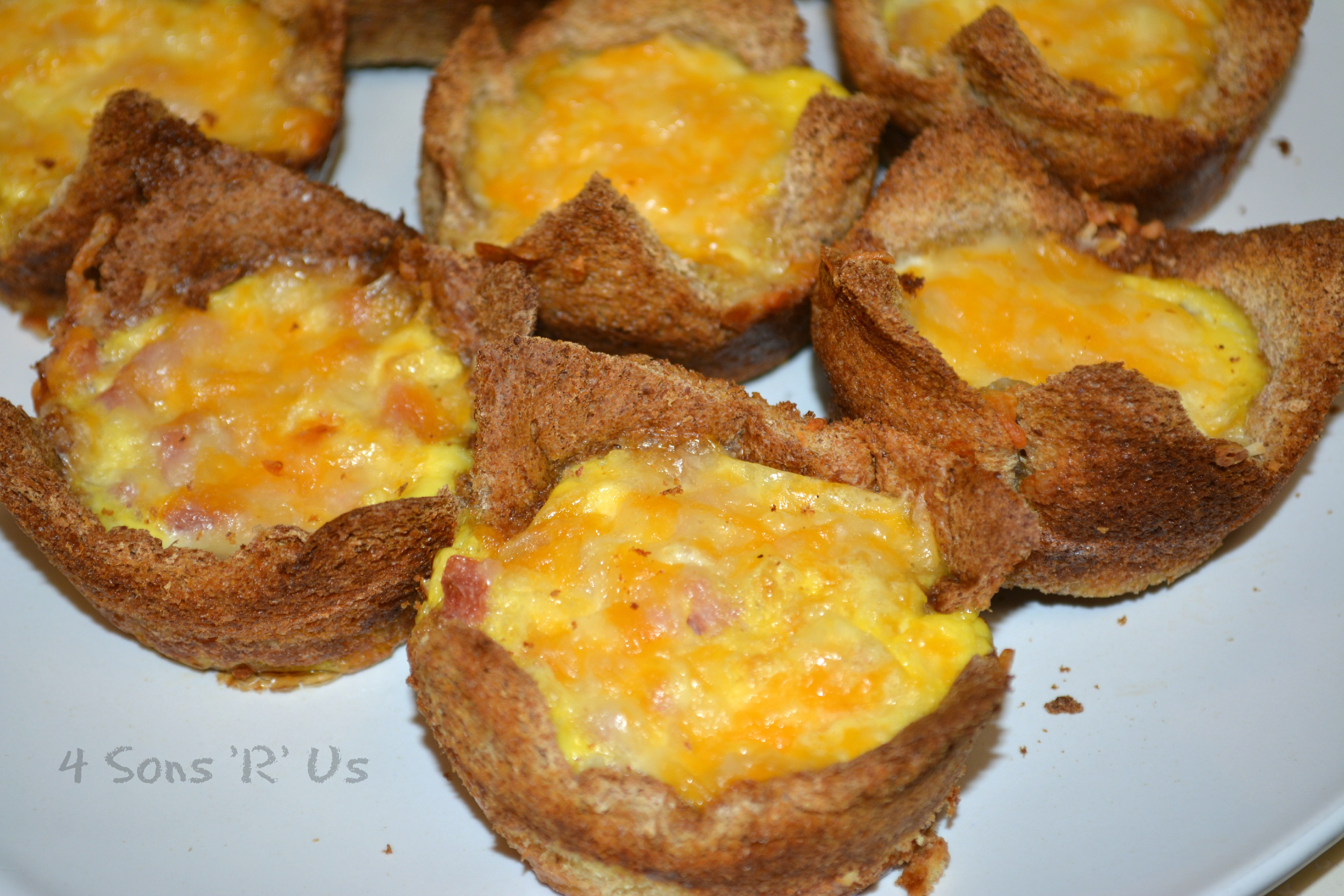 ... slices of bread 7 eggs ¾ cup shredded cheddar cheese 1 cup ham cubed