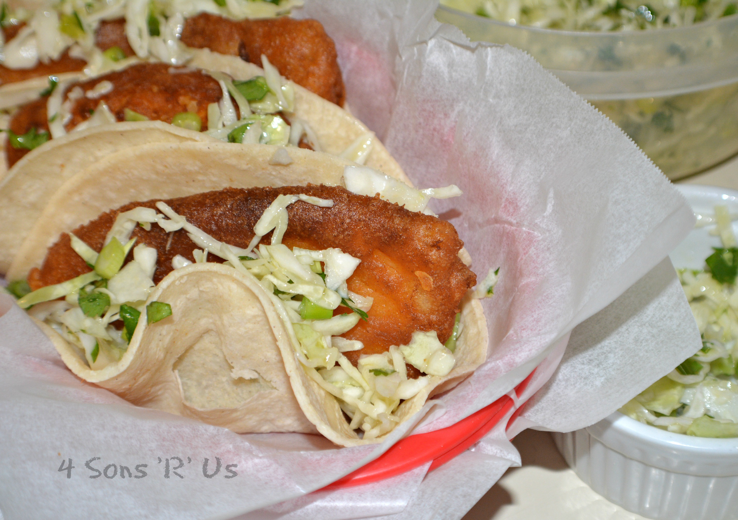 Beer battered fish tacos with cilantro slaw 4 sons 39 r 39 us for Fish tacos with coleslaw