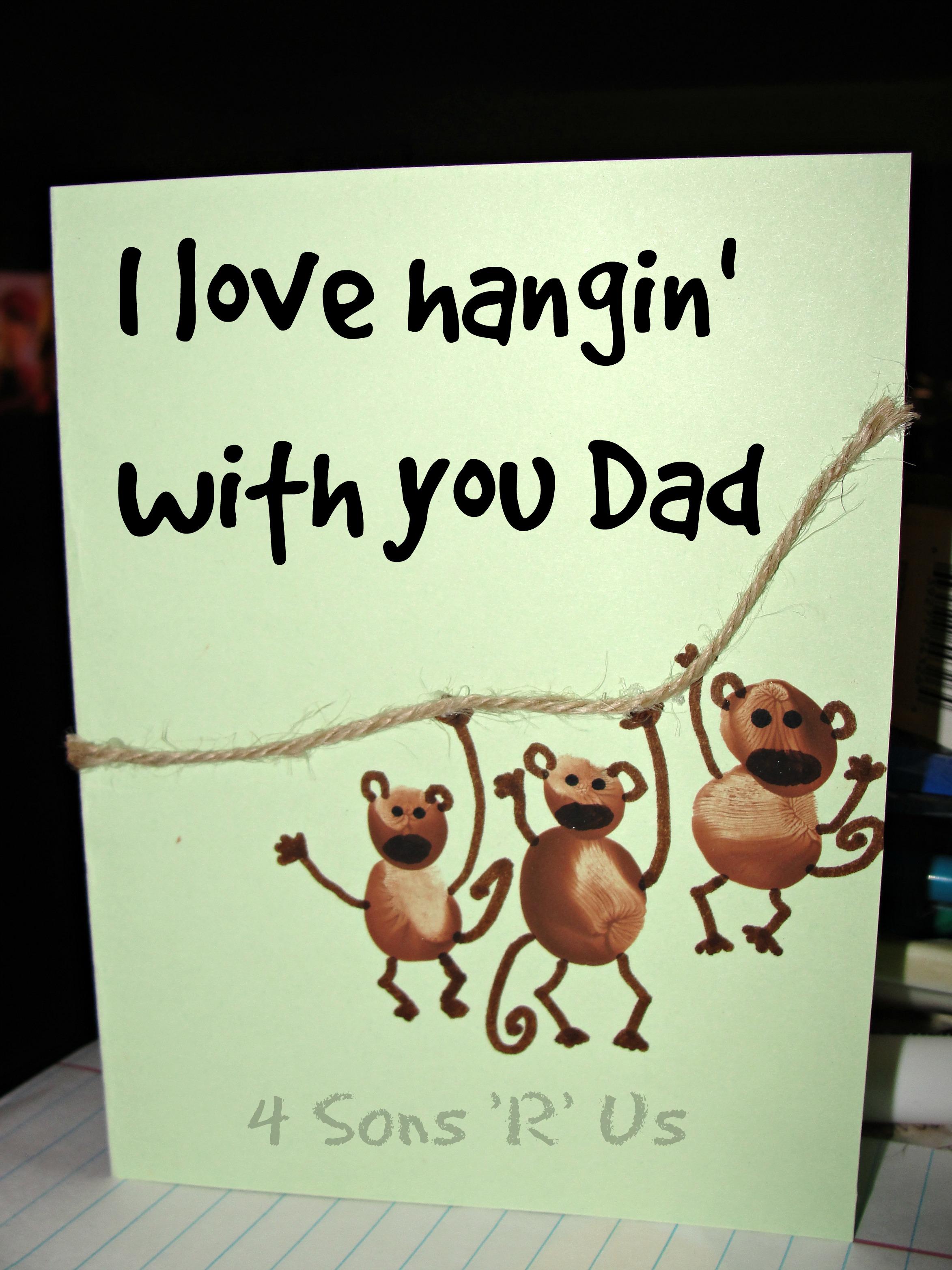 Fingerprint Monkey Card Idea: 'I Love Hangin' With You