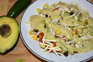 Southwestern Pepper Jack Salad With A Cool Avocado Dressing