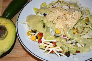 Southwestern Pepper Jack Salad with Cool Avocado Dressing