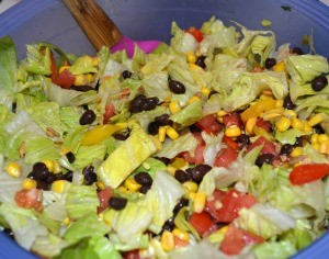 Southwestern Pepper Jack Salad with Cool Creamy Avocado Dressing