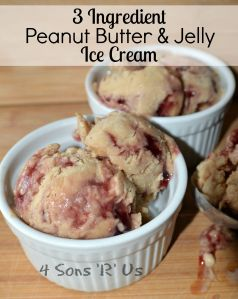 3 Ingredient, Healthy Peanut Butter & Jelly Ice Cream